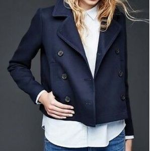 Gap navy wool blend short peacoat size small